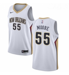 Mens Nike New Orleans Pelicans 55 ETwaun Moore Authentic White Home NBA Jersey Association Edition