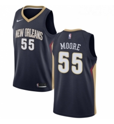 Mens Nike New Orleans Pelicans 55 ETwaun Moore Swingman Navy Blue Road NBA Jersey Icon Edition