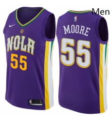 Mens Nike New Orleans Pelicans 55 ETwaun Moore Swingman Purple NBA Jersey City Edition