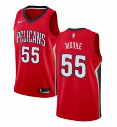 Mens Nike New Orleans Pelicans 55 ETwaun Moore Swingman Red Alternate NBA Jersey Statement Edition