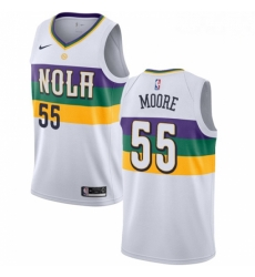 Mens Nike New Orleans Pelicans 55 ETwaun Moore Swingman White NBA Jersey City Editio
