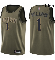 Nike New Orleans Pelicans 1 Zion Williamson Green NBA Swingman Salute to Service Jersey