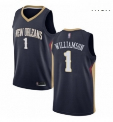Nike New Orleans Pelicans 1 Zion Williamson Navy NBA Swingman Icon Edition Jersey
