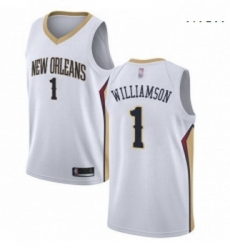 Nike New Orleans Pelicans 1 Zion Williamson White NBA Swingman Association Edition Jersey