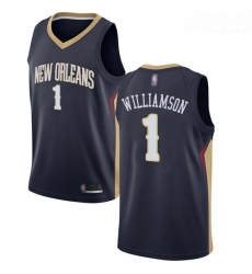 Pelicans #1 Zion Williamson Navy Basketball Swingman Icon Edition Jersey
