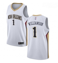Pelicans #1 Zion Williamson White Basketball Swingman Association Edition Jersey