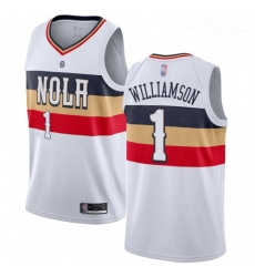 Pelicans #1 Zion Williamson White Basketball Swingman Earned Edition Jersey