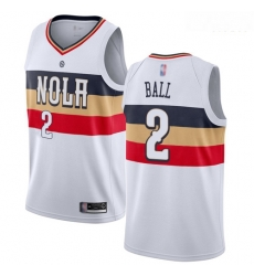 Pelicans #2 Lonzo Ball White Basketball Swingman Earned Edition Jersey