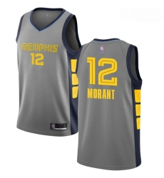 Grizzlies #12 Ja Morant Gray Basketball Swingman City Edition 2018 19 Jersey