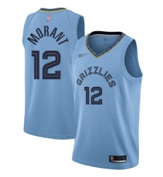 Grizzlies 12 Ja Morant Light Blue Basketball Swingman Statement Edition Jersey