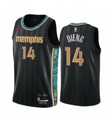 Men Nike Memphis Grizzlies 14 Gorgui Dieng Black NBA Swingman 2020 21 City Edition Jersey