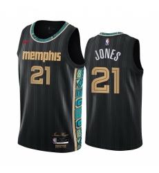 Men Nike Memphis Grizzlies 21 Tyus Jones Black NBA Swingman 2020 21 City Edition Jersey