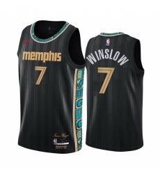 Men Nike Memphis Grizzlies 7 Justise Winslow Black NBA Swingman 2020 21 City Edition Jersey