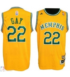 Men RUDY GAY MEMPHIS GRIZZLIES #22 Yellow HARDWOOD CLASSIC JERSEY