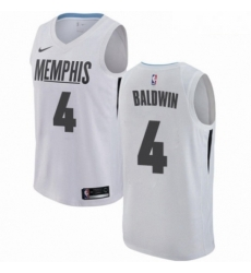 Mens Nike Memphis Grizzlies 4 Wade Baldwin Swingman White NBA Jersey City Edition