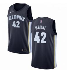 Mens Nike Memphis Grizzlies 42 Lorenzen Wright Swingman Navy Blue Road NBA Jersey Icon Edition