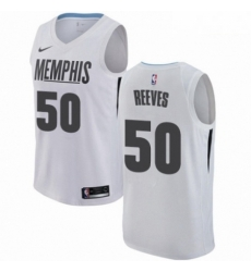 Mens Nike Memphis Grizzlies 50 Bryant Reeves Authentic White NBA Jersey City Edition
