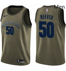 Mens Nike Memphis Grizzlies 50 Bryant Reeves Swingman Green Salute to Service NBA Jersey