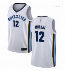 Nike Memphis Grizzlies 12 Ja Morant White Basketball Swingman Association Edition Jersey