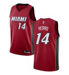 Heat  14 Tyler Herro Red Basketball Swingman Statement Edition Jersey