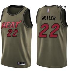 Heat #22 Jimmy Butler Green Basketball Swingman Salute to Service Jersey