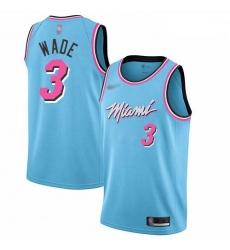 Heat 3 Dwyane Wade Blue Basketball Swingman City Edition 2019 20 Jersey