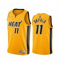 Men Miami Heat 11 KZ Okpala Yellow NBA Swingman 2020 21 Earned Edition Jersey
