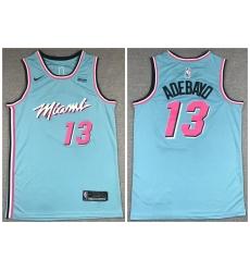 Men Miami Heat 13 Bam Adebayo Light Blue Nike City Edition Swingman Jersey