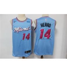 Men Miami Heat 14 Tyler Herro Light Blue Nike 2020 City Edition Swingman Jersey