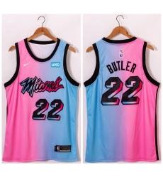 Men Miami Heat 22 Jimmy Butler Blue Pink Nike 2021 City Edition Swingman Jersey