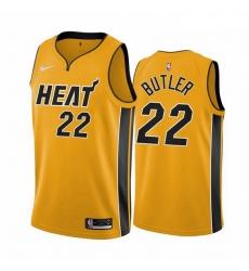 Men Miami Heat 22 Jimmy Butler Yellow NBA Swingman 2020 21 Earned Edition Jersey