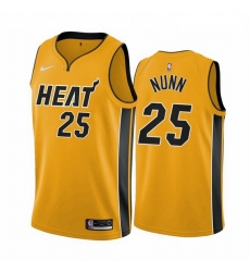 Men Miami Heat 25 Kendrick Nunn Yellow NBA Swingman 2020 21 Earned Edition Jersey
