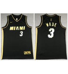 Men Miami Heat 3 Dwyane Wade Black Gold 2021 Nike Swin