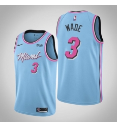 Men Miami Heat #3 Dwyane Wade Jersey Light Blue 2020 City Edition Jersey