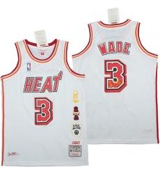 Men Miami Heat 3 Dwyane Wade White honor Throwback Jerseys