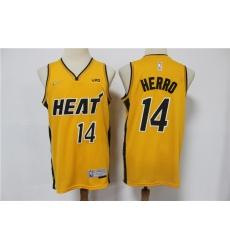 Men Miami Heat Tyler Herro 14 Yellow Swingman Stitched NBA Jersey
