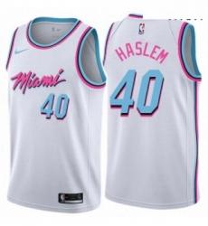 Mens Nike Miami Heat 40 Udonis Haslem Swingman White NBA Jersey City Edition