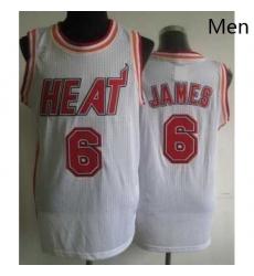Miami Heat 6 LeBron James White Hardwood Classics Revolution 30 NBA Jerseys