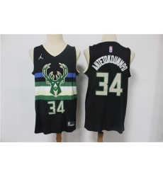 Men Milwaukee Bucks Giannis Antetokounmpo 34 Swingman Black 2021 Jordan Brand Jersey