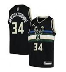Men Milwaukee Bucks Giannis Antetokounmpo Black Jordan Brand Jersey
