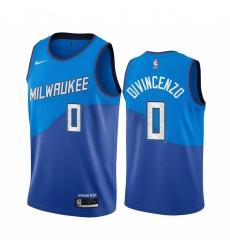 Men Nike Milwaukee Bucks 0 Donte Divincenzo Blue NBA Swingman 2020 21 City Edition Jersey
