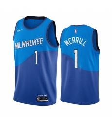 Men Nike Milwaukee Bucks 1 Sam Merrill Blue NBA Swingman 2020 21 City Edition Jersey