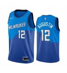 Men Nike Milwaukee Bucks 12 D J  Augustin Blue NBA Swingman 2020 21 City Edition Jersey