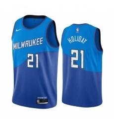Men Nike Milwaukee Bucks 21 Jrue Holiday Blue NBA Swingman 2020 21 City Edition Jersey