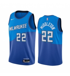 Men Nike Milwaukee Bucks 22 Khris Middleton Blue NBA Swingman 2020 21 City Edition Jersey