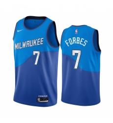 Men Nike Milwaukee Bucks 7 Bryn Forbes Blue NBA Swingman 2020 21 City Edition Jersey
