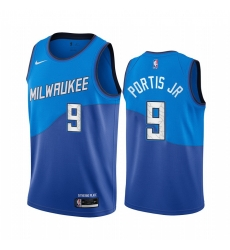 Men Nike Milwaukee Bucks 9 Bobby Portis Blue NBA Swingman 2020 21 City Edition Jersey