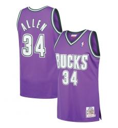 Men's Milwaukee Bucks Ray Allen Mitchell & Ness Purple NBA Jersey