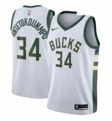 Mens Nike Milwaukee Bucks 34 Giannis Antetokounmpo Authentic White Home NBA Jersey Association Edition