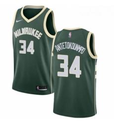 Mens Nike Milwaukee Bucks 34 Giannis Antetokounmpo Swingman Green Road NBA Jersey Icon Edition